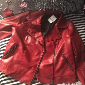 Plus Size Faux Leather Moto Jacket (Size 0X)
